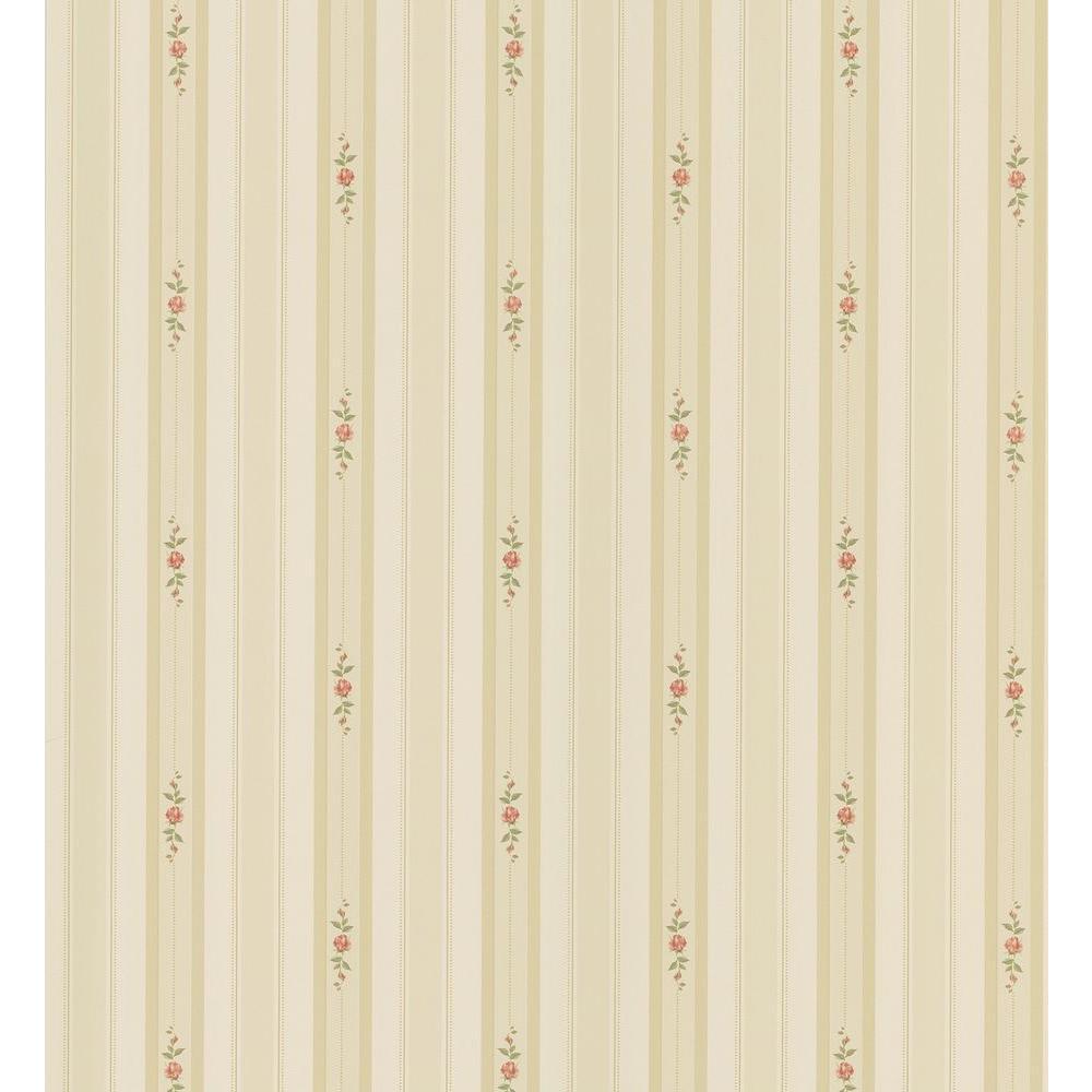 Brewster Cottage Living Beige Rosebud Stripe Wallpaper Sample 403