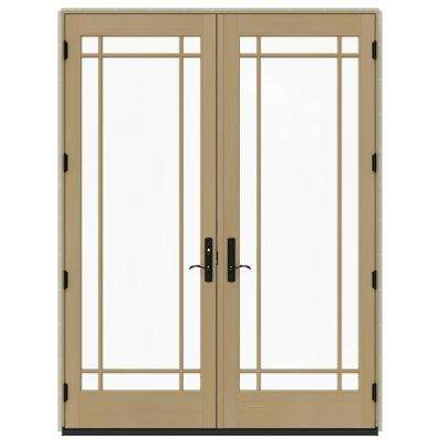 72 in. x 96 in. W-4500 Desert Sand Clad Wood Right-Hand 9 Lite French Patio Door w/Unfinished Interior