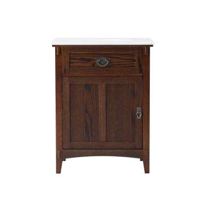 Artisan 26 in. W Vanity in Dark Oak with Marble Vanity Top in Natural White with White Basin