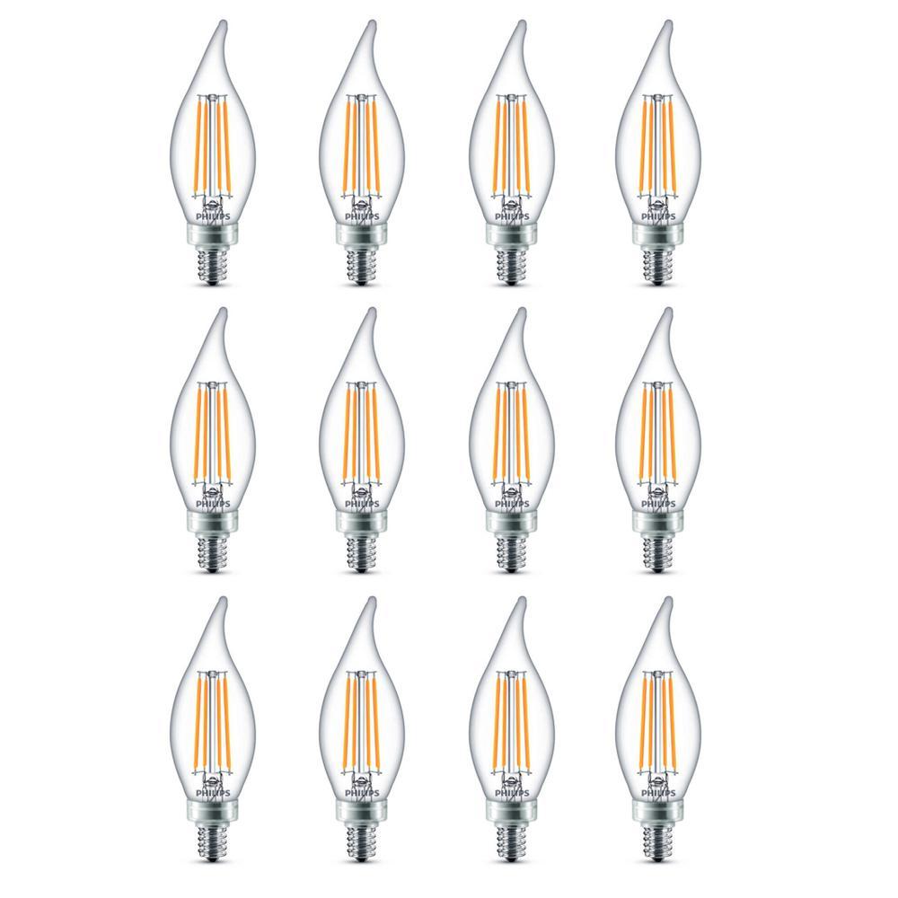 60-Watt Equivalent B11 Dimmable Edison Glass LED Candle Light Bulb Bent Tip Candelabra Base Daylight (5000K) (12-Pack)