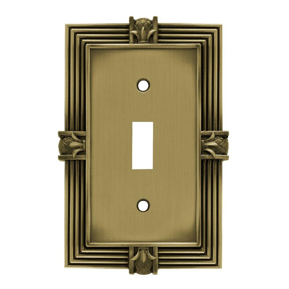Liberty Pineapple Decorative Single Switch Plate, Tumbled Antique Brass