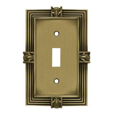 Pineapple Decorative Single Switch Plate, Tumbled Antique Brass