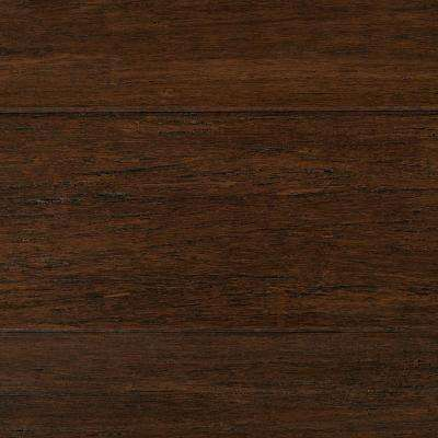 Take Home Sample - Wire Brushed Strand Woven Cocoa Bean Solid Bamboo Flooring - 5 in. x 7 in.