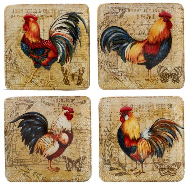 Certified International Gilded Rooster 4-Piece Multi-Colored 8.5 in. Salad Plate