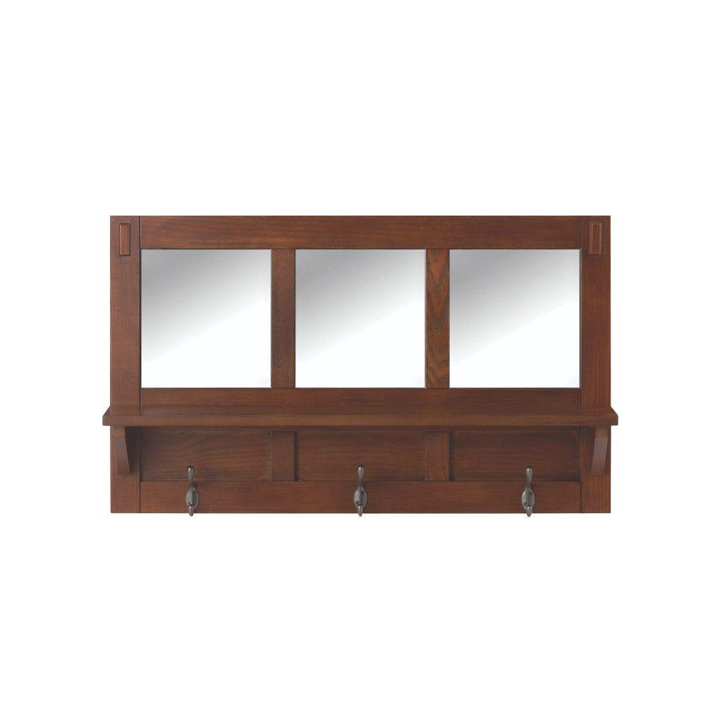 Home Decorators Collection 18 In H 3 Hook Mdf Wall Shelf With Mirror Medium Oak 9233000550 The Depot
