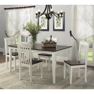 Brilliant Dorel Living Shiloh Dark Walnut White Dining Chairs Set Caraccident5 Cool Chair Designs And Ideas Caraccident5Info