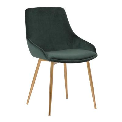 Heidi Contemporary Dining Chair in Gold Metal Finish and Green Velvet