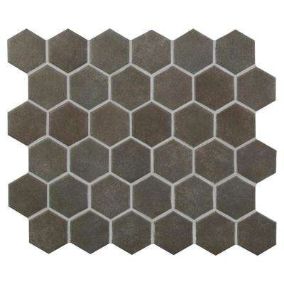 Metro Anthracite Hexagon 12 in. x 12 in. x 10mm Matte Porcelain Mesh-Mounted Mosaic Tile (1 sq. ft.)
