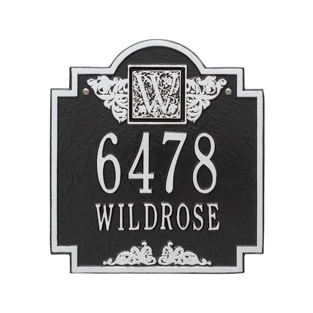 Monogram Standard Wall Square Black/Silver 2-Line Address Plaque