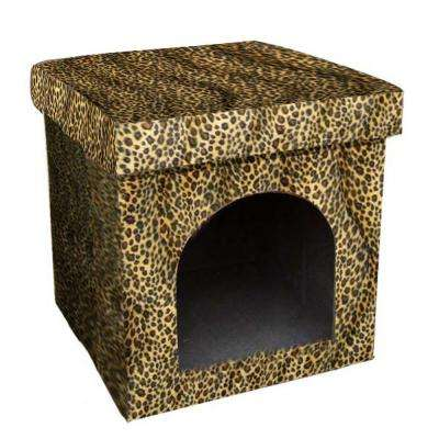 14.75 in. H Collapsible Leopard Pet House