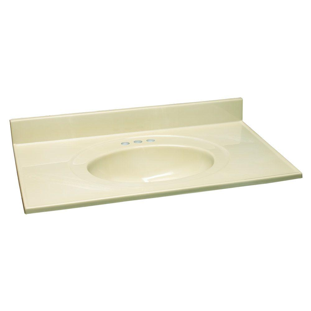 Design House 49 in. W Cultured Marble Vanity Top with White on Bone Bowl