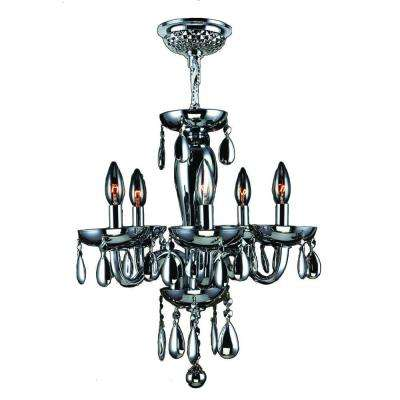 Gatsby 5-Light Polished Chrome Chandelier with Smoke Blown Glass