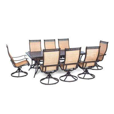 Manor 9-Piece Rectangular Patio Dining Set with Eight Swivel Rockers