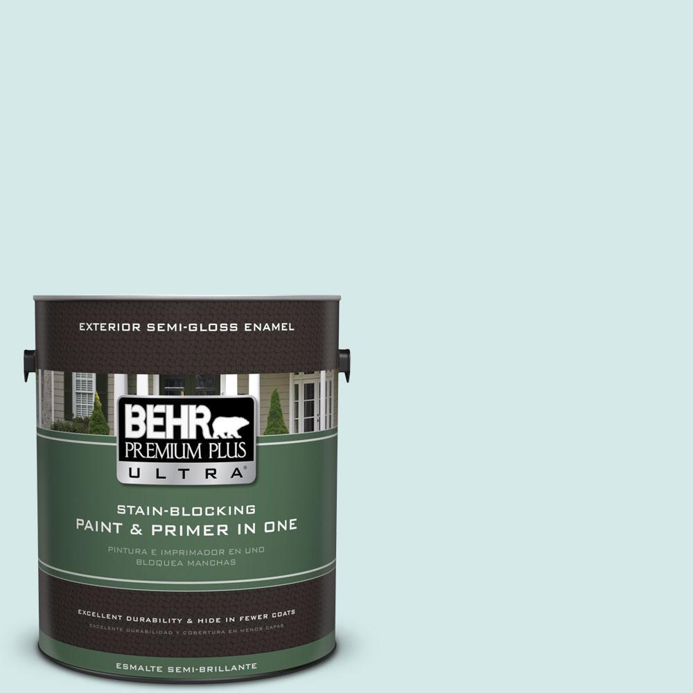 BEHR Premium Plus Ultra 1-gal. #T14-5 Sky Blue Semi-Gloss Enamel Exterior Paint