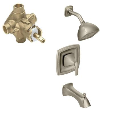Voss Single-Handle 1-Spray Posi-Temp Tub and Shower Faucet Trim Kit with Valve in Brushed Nickel (Valve Included)