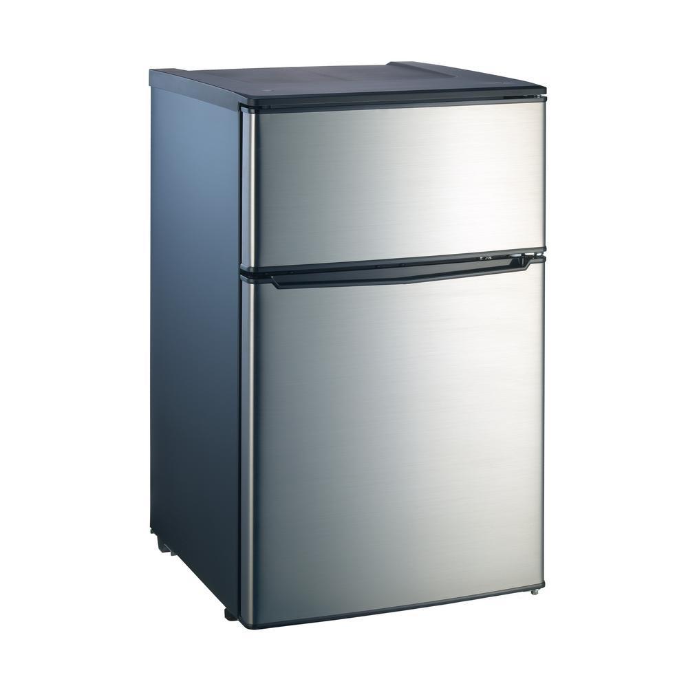 Whirlpool 3.1 cu. ft. Mini Refrigerator with Dual Door True Freezer in Stainless Look