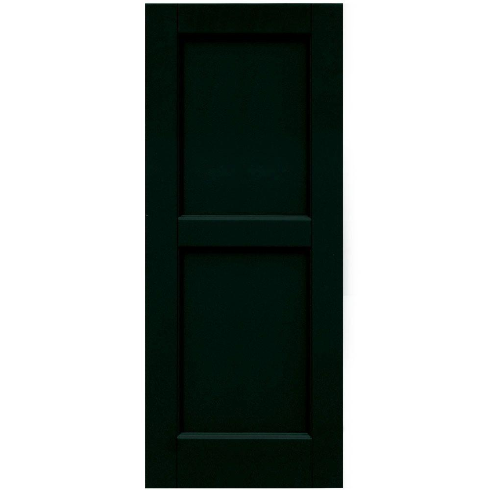 Winworks Wood Composite 15 in. x 37 in. Contemporary Flat Panel Shutters Pair #654 Rookwood Shutter Green