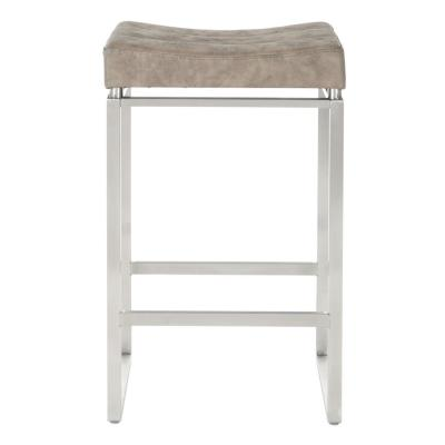 Sherese Counter Stool 26 in. Retro Taupe Stainless Steel Base (Set of 2)