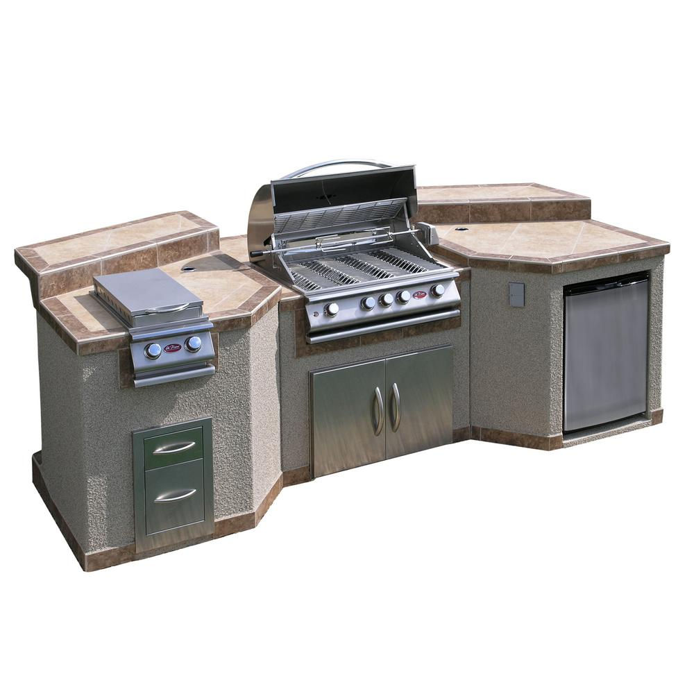 Cal flame 3 piece island with 4 burner bbq grill and for B kitchen glass grill
