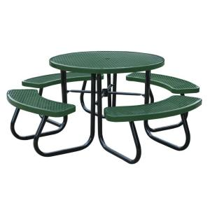 Paris 46 inch Green Picnic Table with Built-In Umbrella Support by Paris