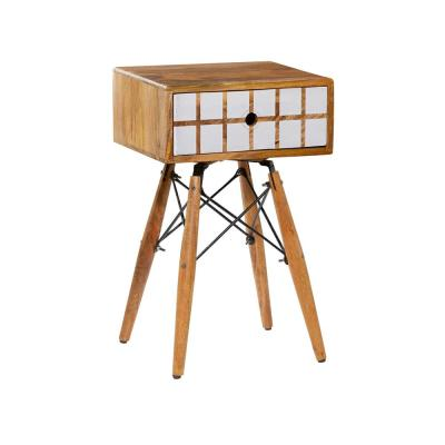 LITTON LANE 16 in. x 26.5 in. White Mango Wood End/Side Table with Square Design, Brown