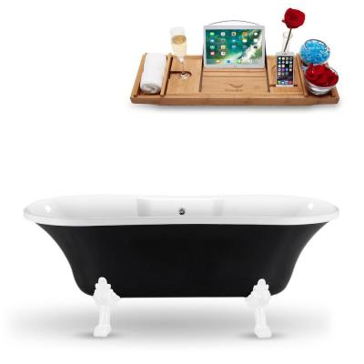 68 in. Acrylic Fiberglass Clawfoot Non-Whirlpool Bathtub in Black