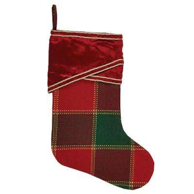 15 in. Cotton/Viscose Tristan Cherry Red Traditional Christmas Decor Stocking