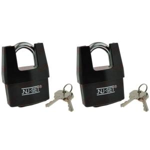 NUSET 2-1/2 inch Shrouded Shackle Laminated Steel Padlock with Weather-Proof... by NUSET
