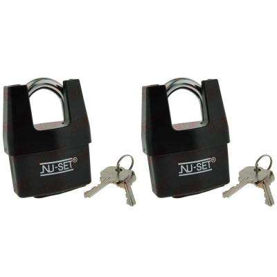 2-1/2 in. Shrouded Shackle Laminated Steel Padlock with Weather-Proof Cover (2-Pack)