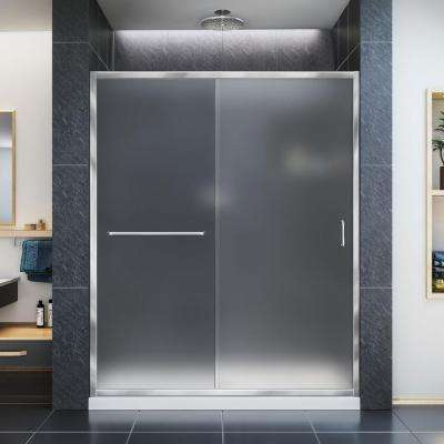 Infinity-Z 30 in. x 60 in. Semi-Frameless Sliding Shower Door in Chrome with Right Drain White Acrylic Base