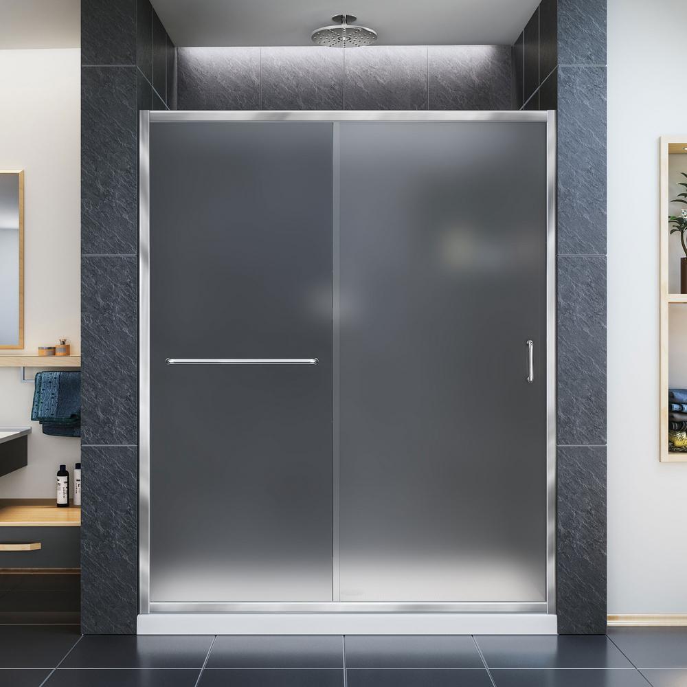 Infinity-Z 54 in. x 74.75 in. Framed Sliding Shower Door in Chrome with Center Drain White Base Kit