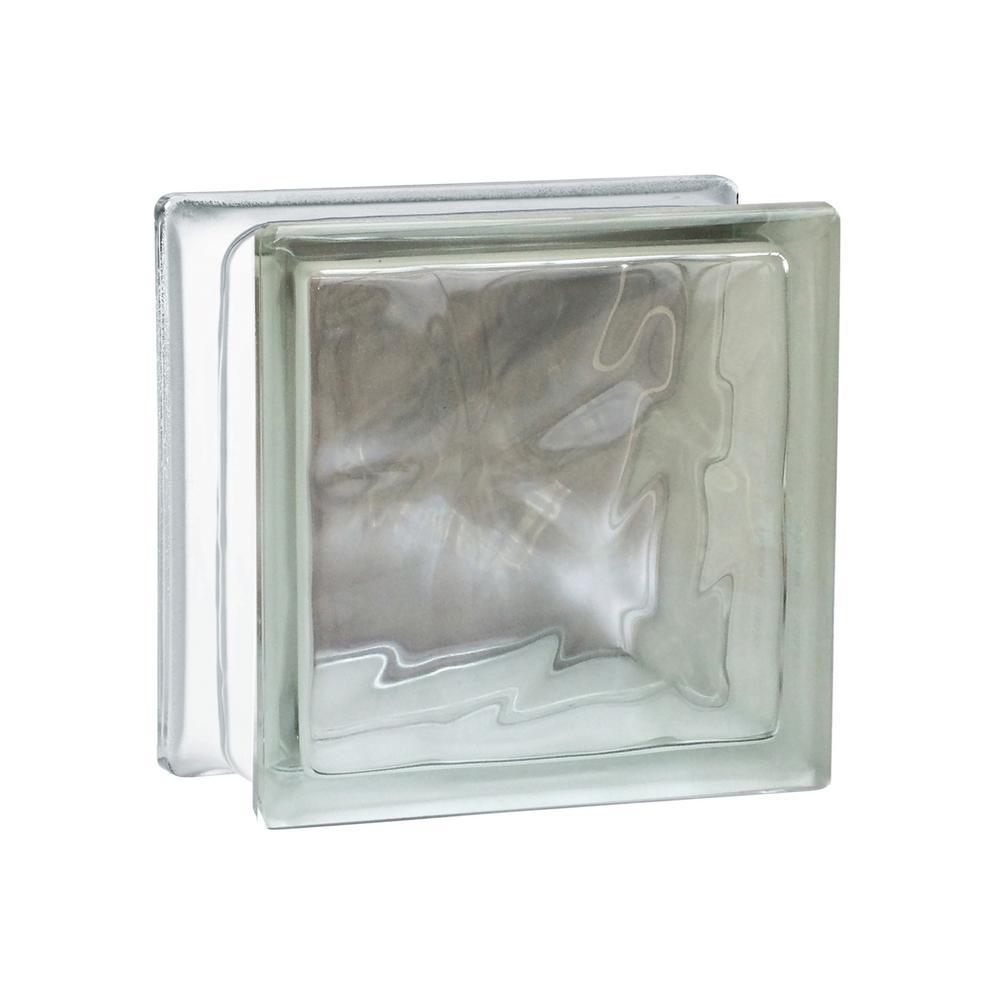 Seves Nubio 7.75 in. x 7.75 in. x 3.875 in. Wave Pattern Glass Block ...