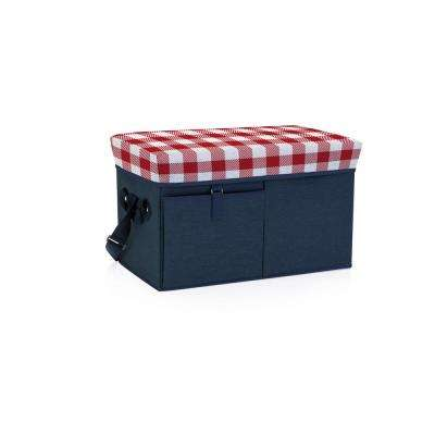 18 Qt. Navy with Red Gingham Print Ottoman Cooler and Seat