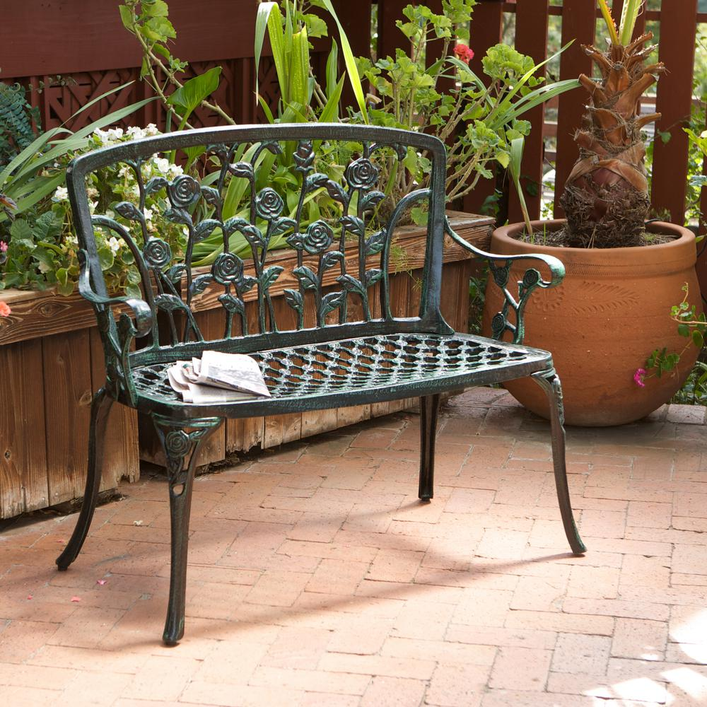 Noble House Saint Kitts Green Aluminum Outdoor Bench