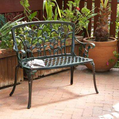 Saint Kitts 43 in. Green Aluminum Outdoor Bench