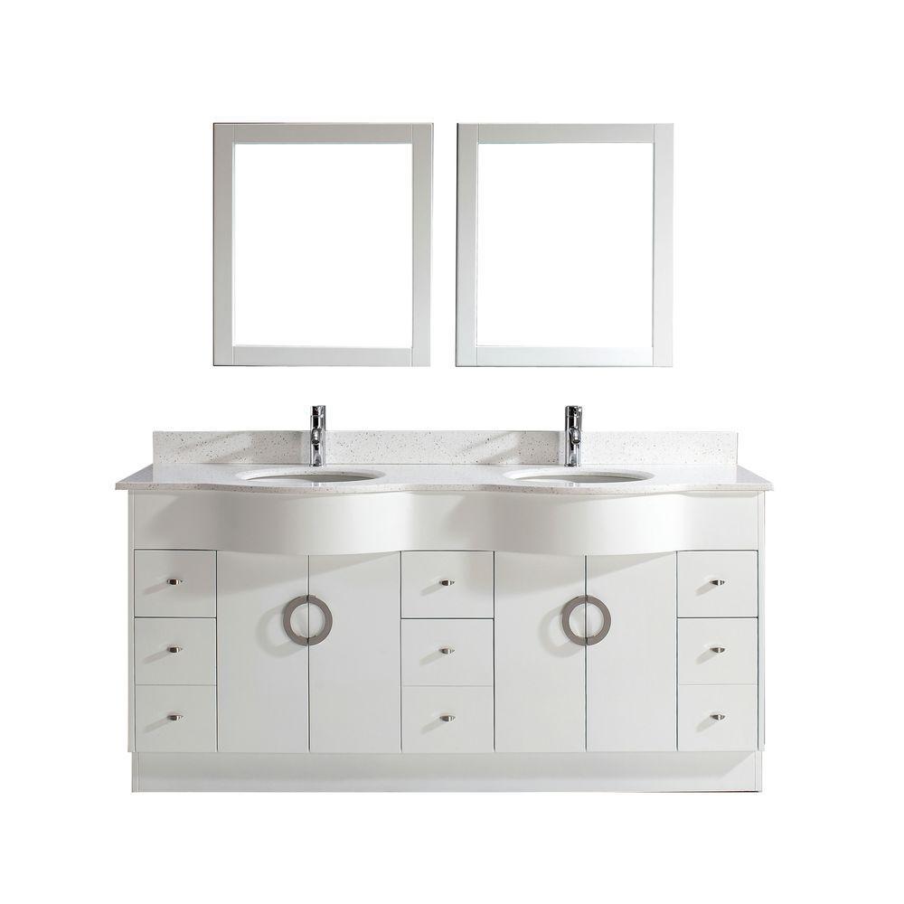 Vanity White Nougat Quartz Vanity Top White Mirror