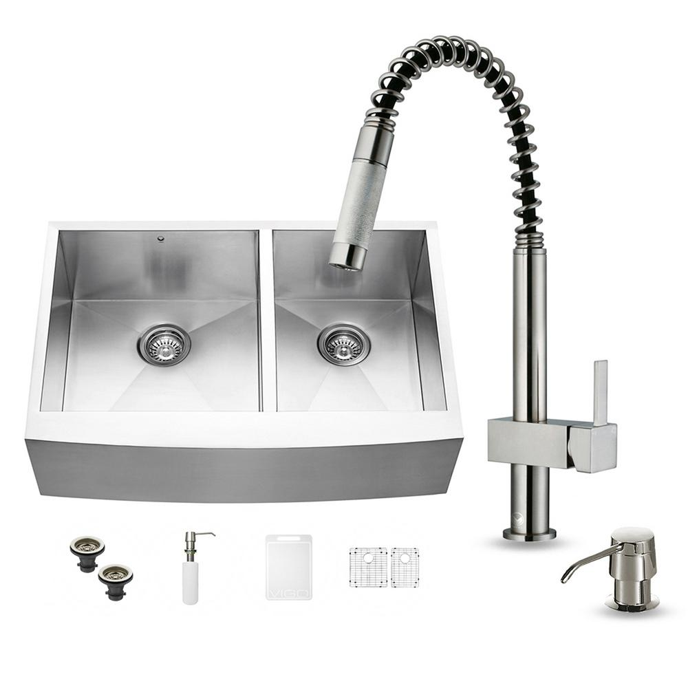 double basin stainless steel kitchen sink vigo all in one farmhouse apron front stainless steel 33 9609