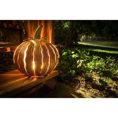 14 in. x 15 in. Orange Powder Coated Squatty Pumpkin Luminary