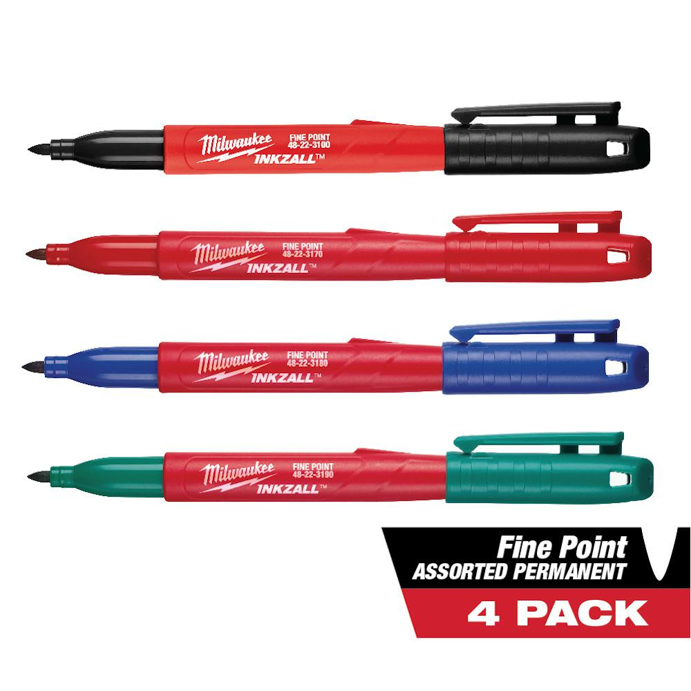 Milwaukee INKZALL Multi-Colored Fine Point Jobsite Permanent Markers (4-Pack)