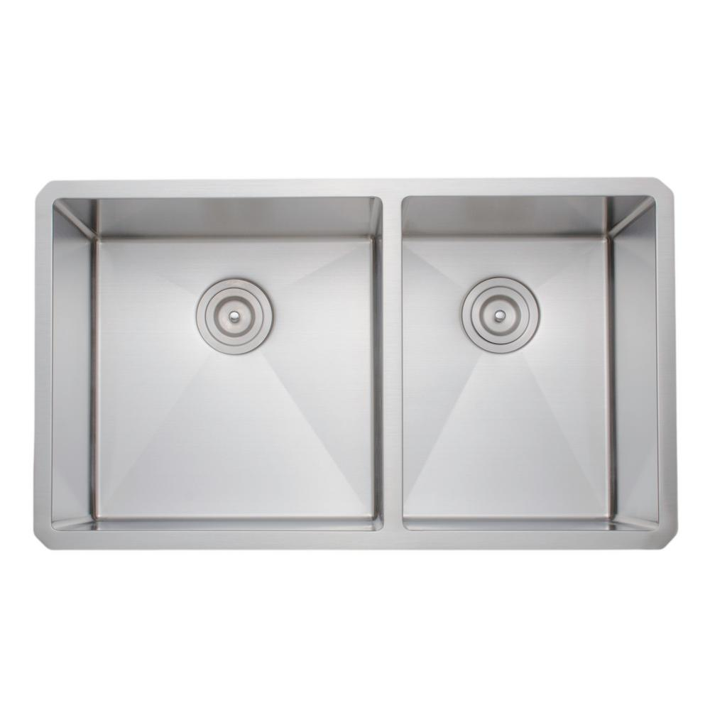 Wells New Chef\'s Collection Handcrafted Undermount Stainless Steel 33 in.  60/40 Double Bowl Kitchen Sink
