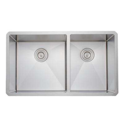New Chef's Collection Handcrafted Undermount Stainless Steel 33 in. 60/40 Double Bowl Kitchen Sink