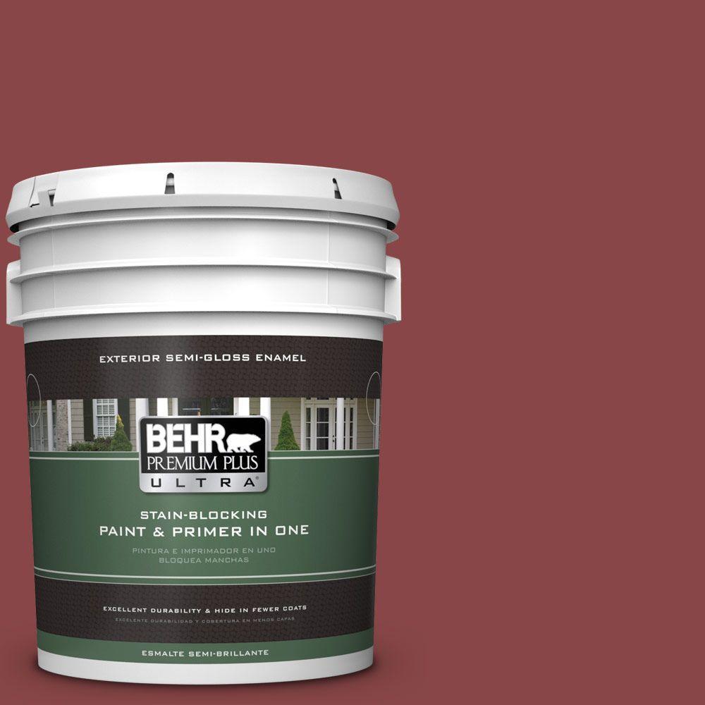 BEHR Premium Plus Ultra 5-gal. #PPU1-10 Forbidden Red Semi-Gloss Enamel Exterior Paint