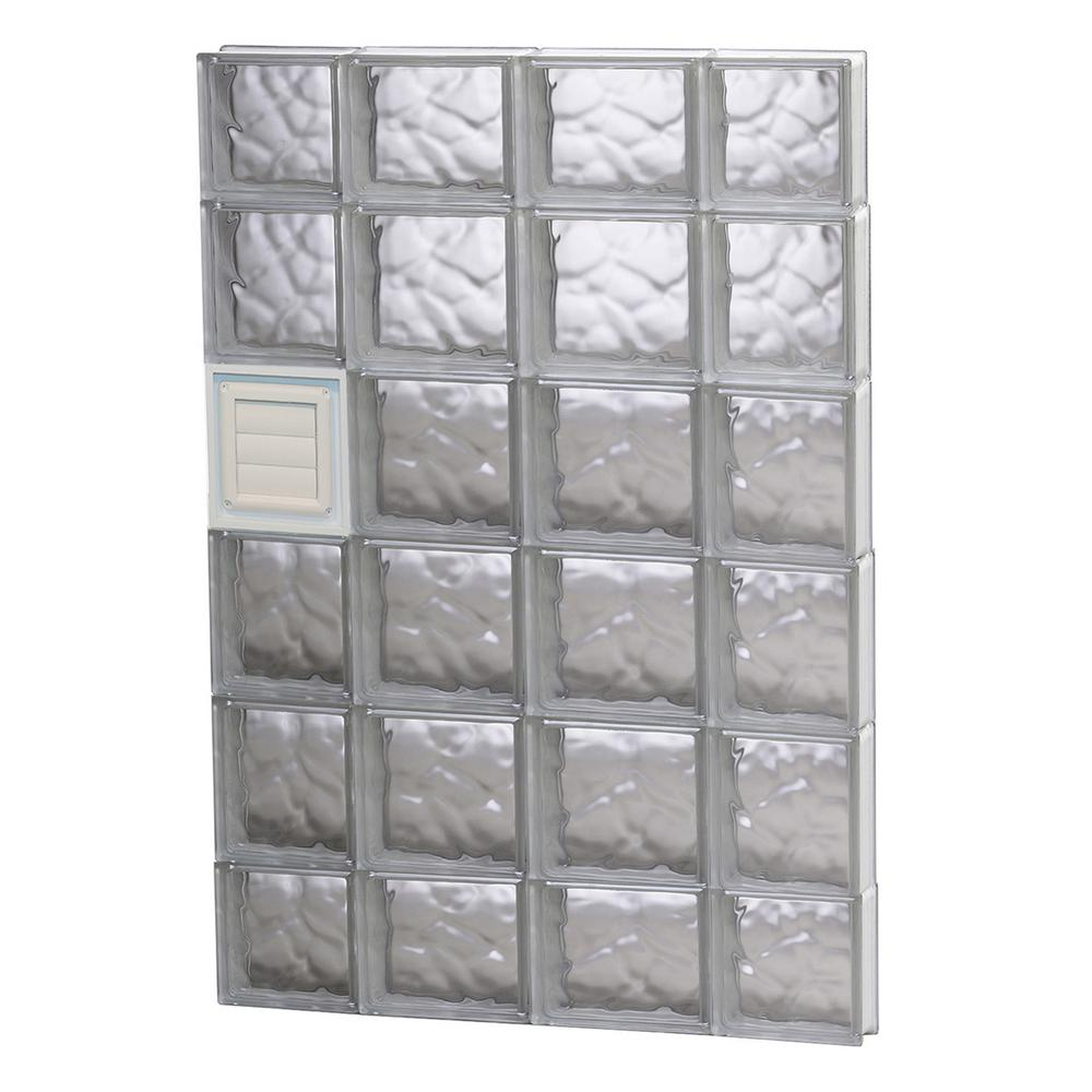 Clearly Secure 27 in. x 42.5 in. x 3.125 in. Frameless Wave Pattern Glass Block Window with Dryer Vent