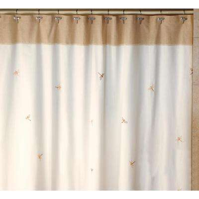 Dragonfly 70 in. x 72 in. Tan, Natural and Brown 100% Cotton Shower Curtain, Curtain Hooks and Bath Rug Set