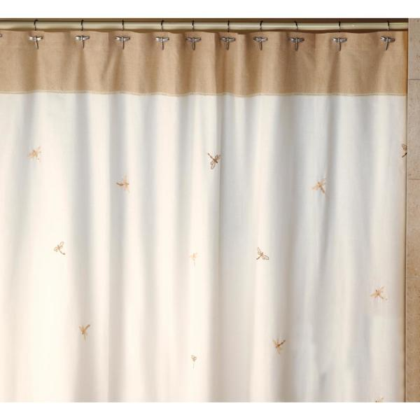 Creative Bath Dragonfly 70 in. x 72 in. Tan, Natural and Brown 100% Cotton Shower Curtain, Curtain Hooks and Bath Rug Set