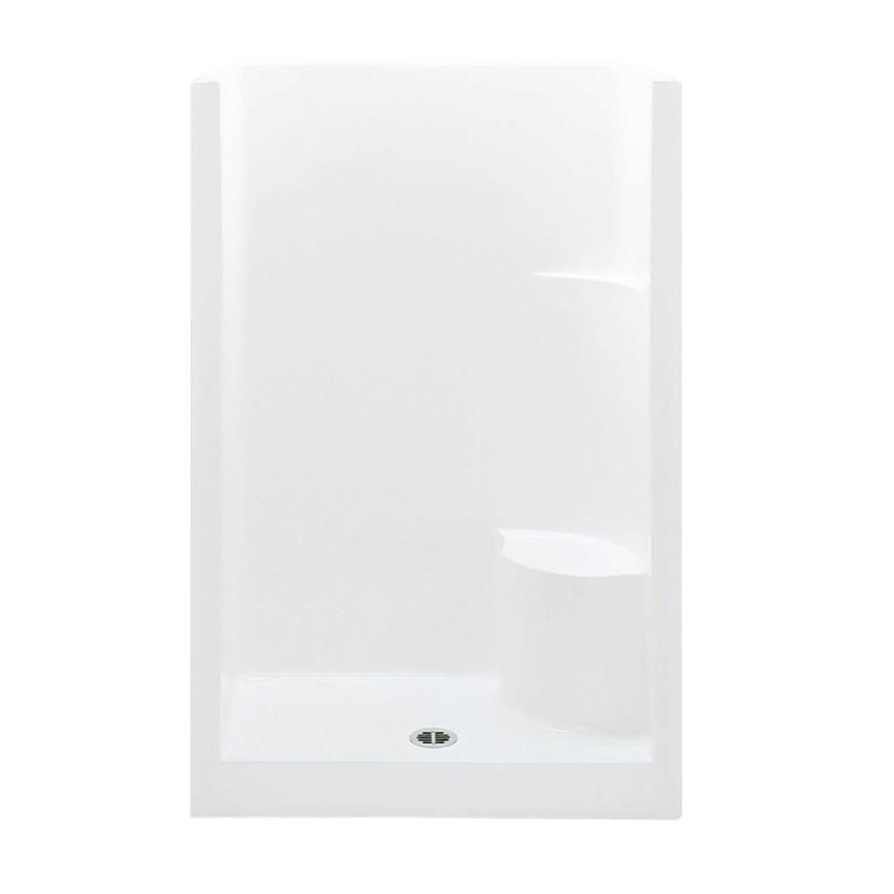 Aquatic Everyday 48 In X 33 5 72 1 Piece Shower Stall With Right Seat And Center Drain White