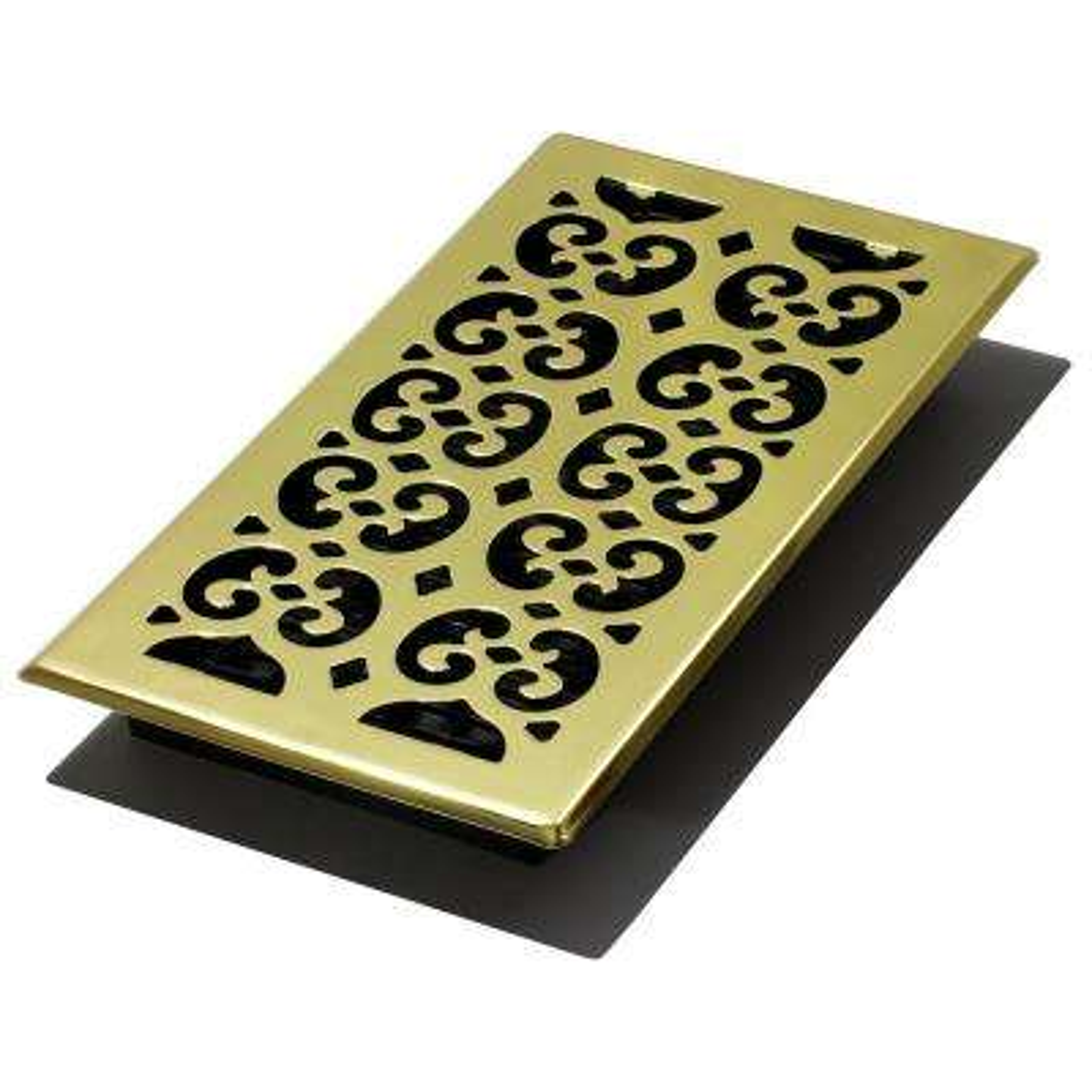 6 in. x 12 in. Scroll Brass Floor Register