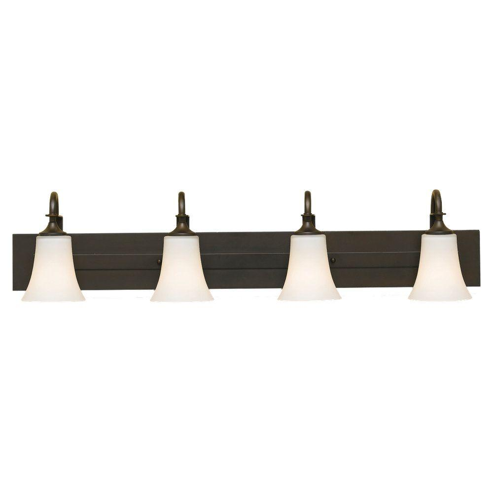 Sea Gull Lighting Barrington 37 in. W. 4-Light Oil Rubbed Bronze Vanity Light with Opal Etched Glass Shades