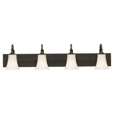 Barrington 37 in. W. 4-Light Oil Rubbed Bronze Vanity Light with Opal Etched Glass Shades