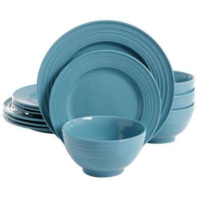 Plaza Cafe 12-Piece Teal Dinnerware Set